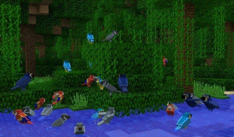 Виды попугаев в Minecraft