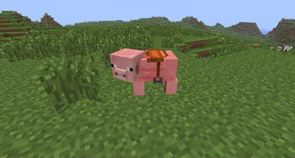 Езда верхом на свинье Майнкрафт
