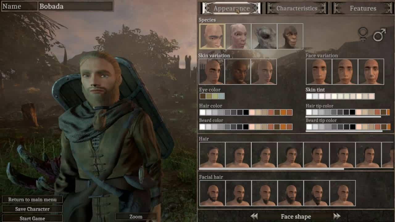 Isles of Adalar создание персонажа