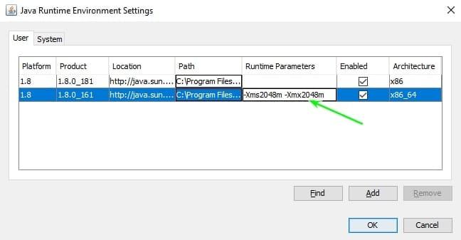Введите параметры Java для Minecraft