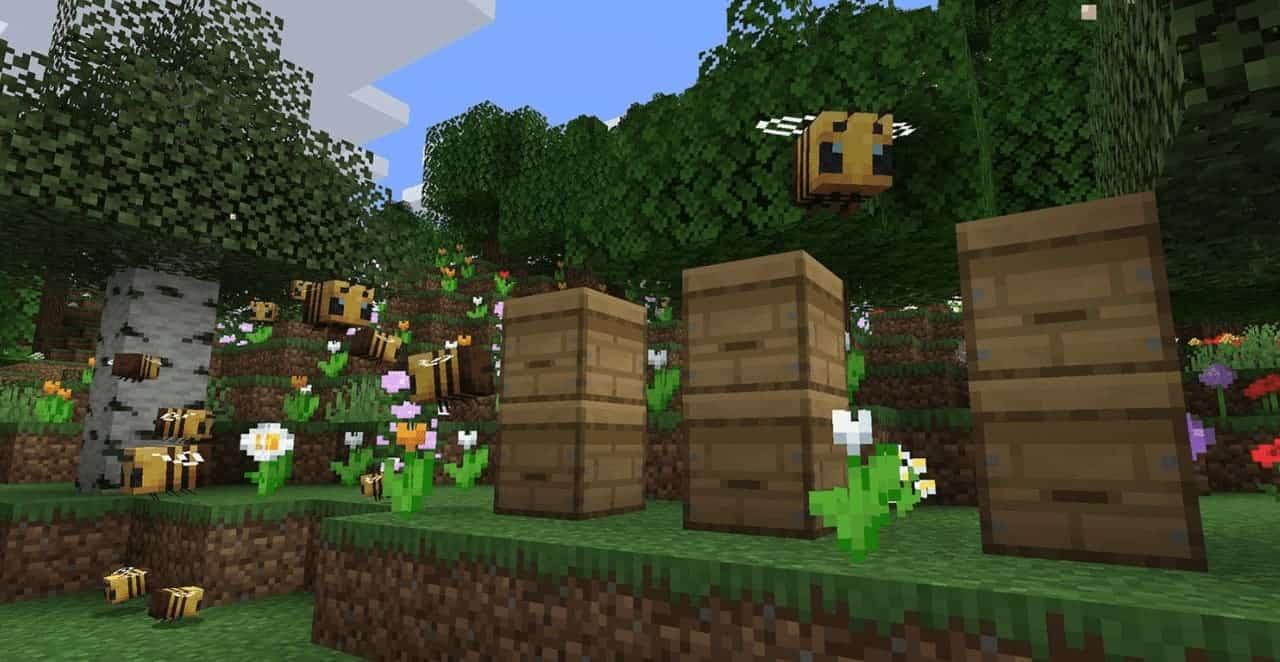Спавн пчел в стандартной версии Майнкрафт