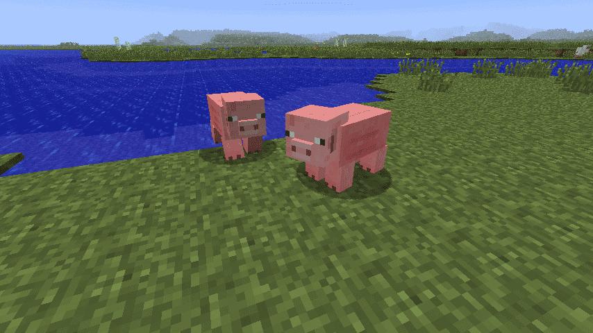 Свиньи около воды Minecraft