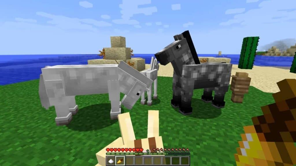 Кормление лошадей в Minecraft