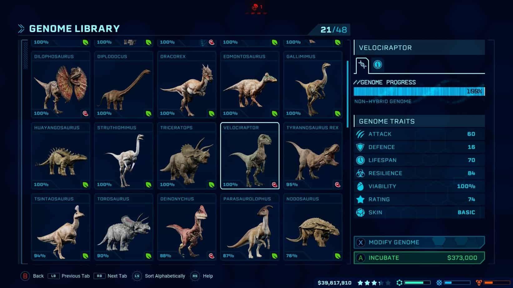Jurassic World Evolution генетика