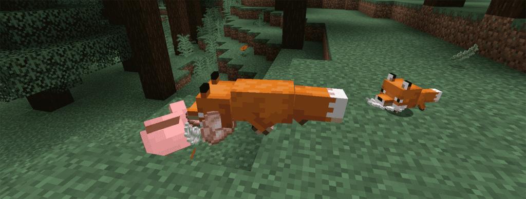 Охота лисы на животных Майнкрафт