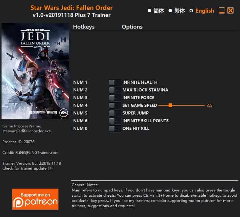 Star Wars Jedi Fallen Order Trainer