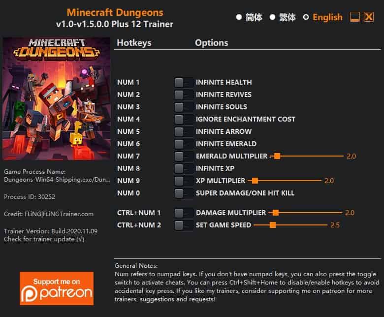 Minecraft Dungeons трейнер читы
