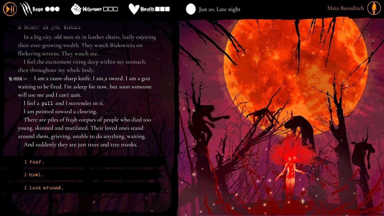 Werewolf The Apocalypse – Heart of the Forest геймплей визуального романа