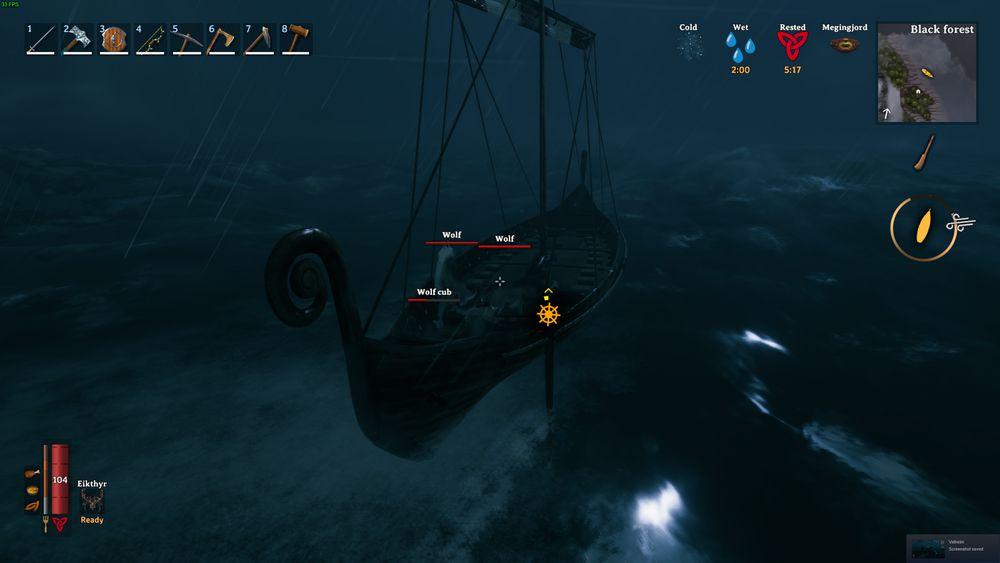 Волк в Valheim защищает игрока