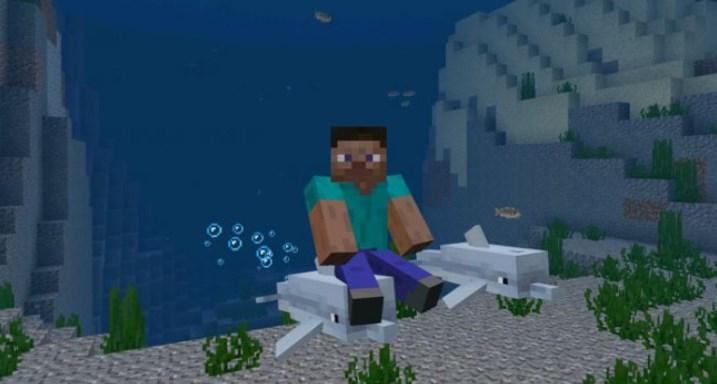 Как кататься на дельфине Майнкрафт