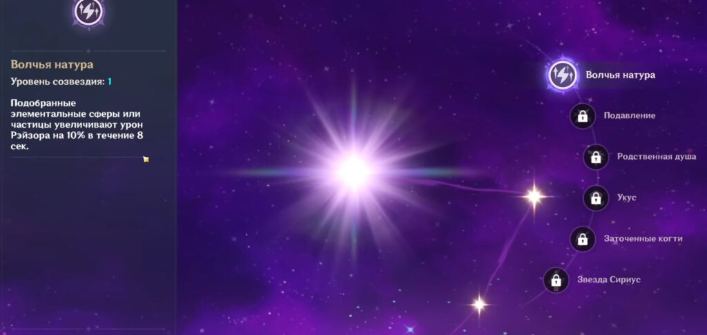 Рейзор Genshin Impact созвездия
