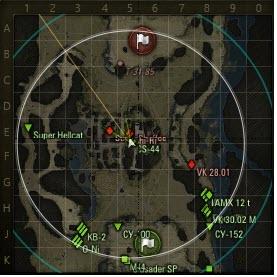 Танк Т-34-85 в бою на карте